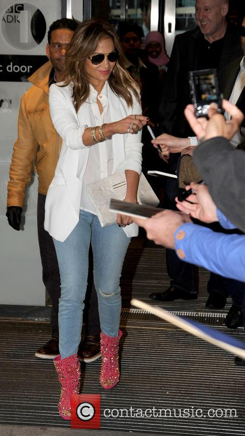 Jennifer Lopez arrives at BBC Radio 1 to...