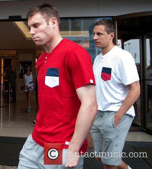 England football team in Copacabana