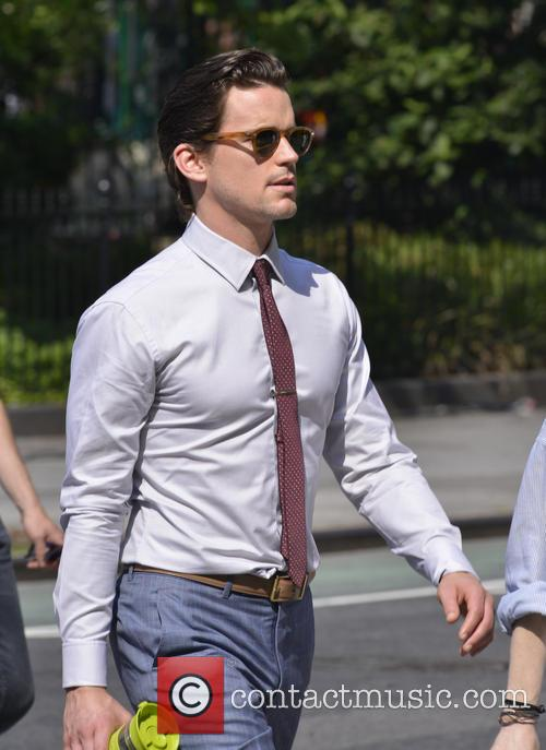 Matt Bomer on the set of 'White Collar'