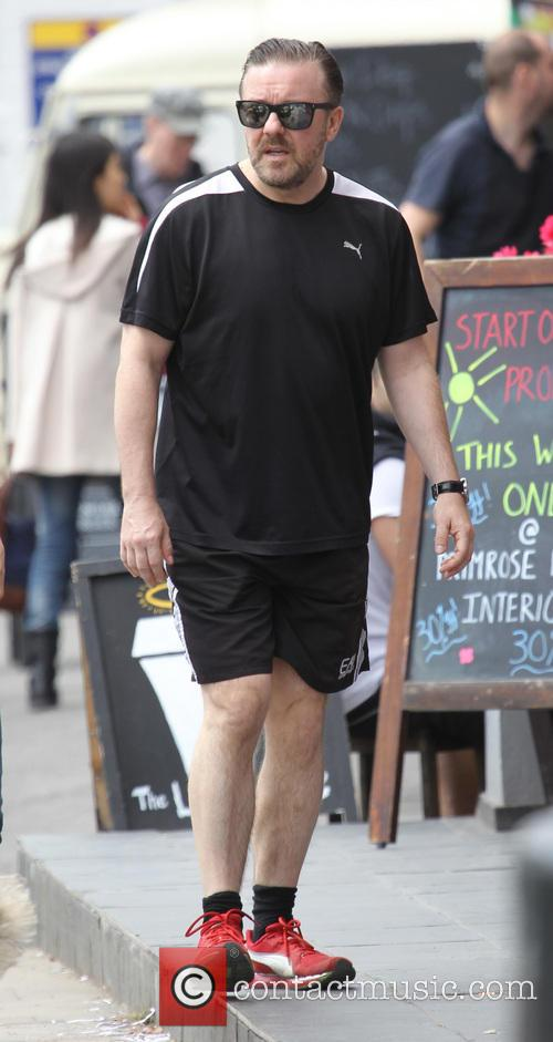 Comedian Ricky Gervais and his partner Jane Fallon taking a stroll in Primrose Hill