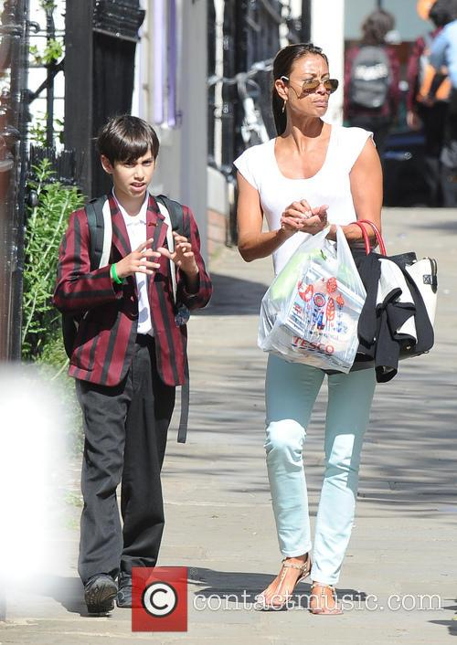 Melanie Sykes and son out and about