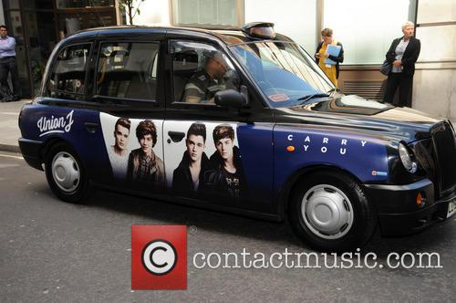 Union J taxi pictured at BBC Radio 1.