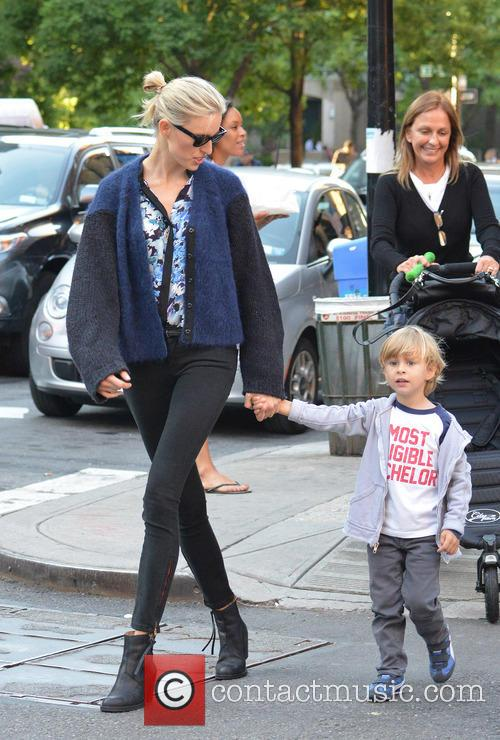 Karolina Kurkova out with her son in NYC