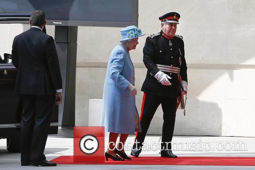 Queen Elizabeth II attending the opening of BBC...