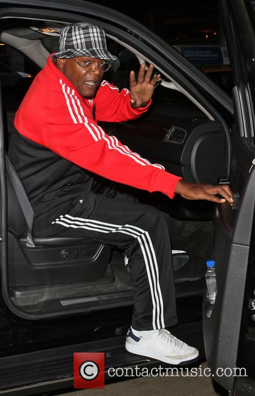 samuel l jackson celebrities arriving at lax 3708983