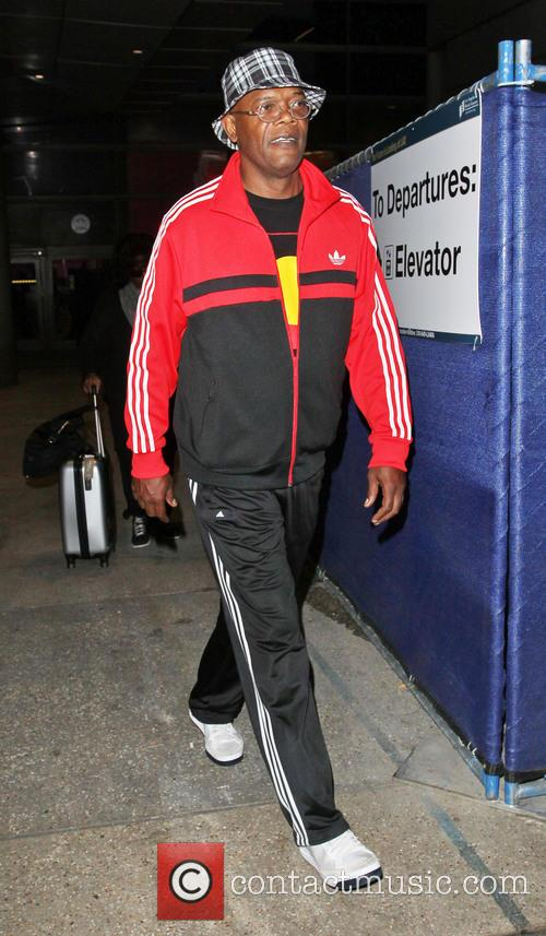 samuel l jackson celebrities arriving at lax 3709009