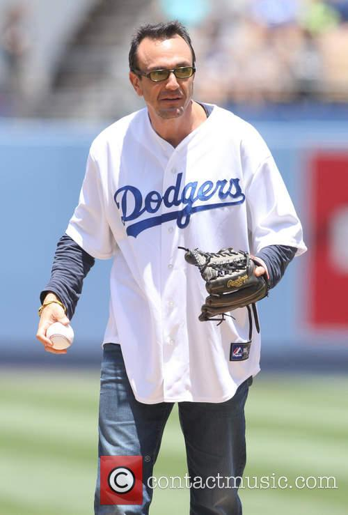 Hank Azaria throws out the first pitch at...