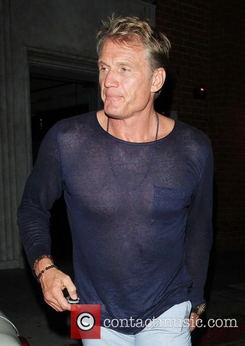 Dolph Lundgren and his girlfriend Jenny Sandersson leaving...
