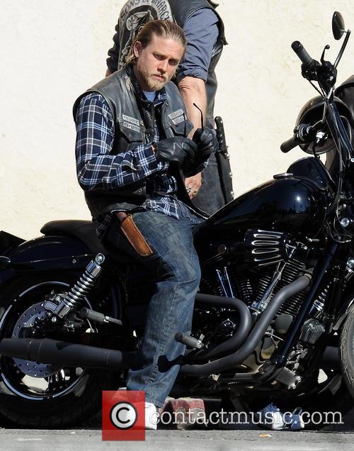 Charlie Hunnam on the set of Sons Of Anarchy