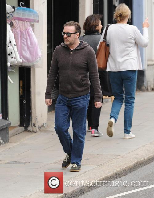 Ricky Gervais out and about in Hampstead