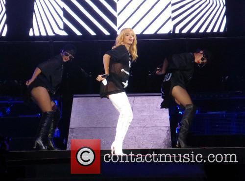 Rihanna performs live at Twickenham Stadium as part...