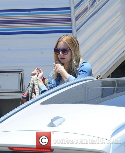 "Kristen Bell, who have birth three months ago,  is spotted arriving on the set of ""Veronica Mars"" in downtown Los Angeles"