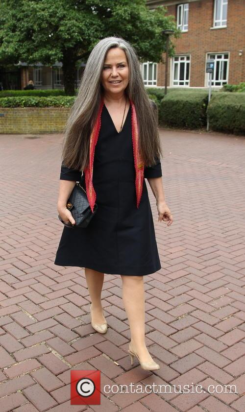 Koo Stark leaving court