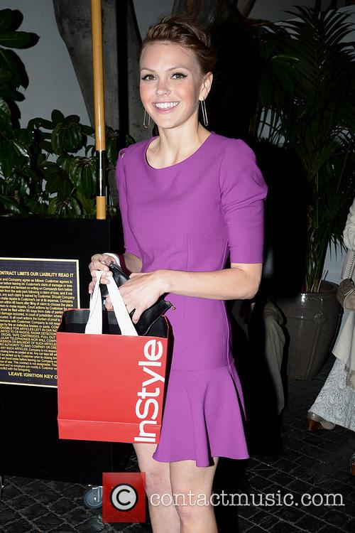 Aimee Teegarden leaves a InStyle party