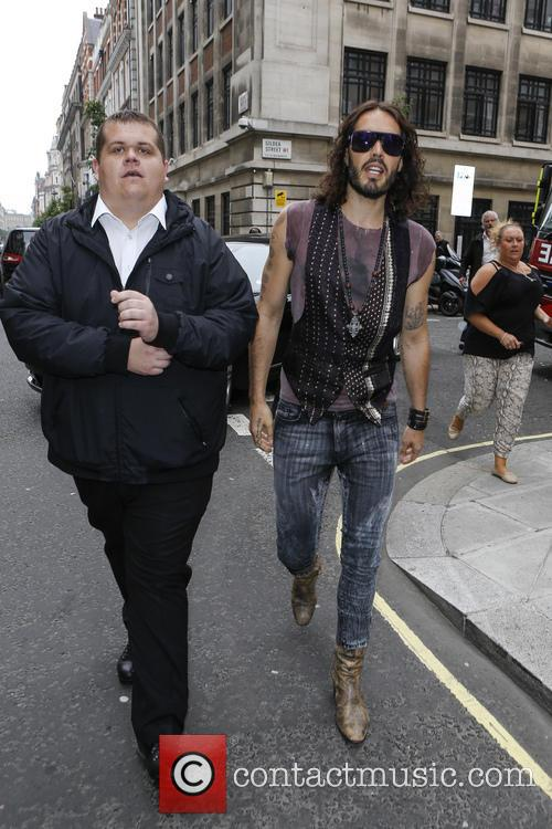 Russell Brand outside the BBC Radio 2 studios