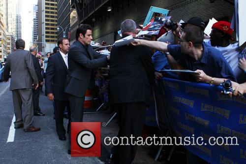 David Letterman and John Travolta With Fans 2