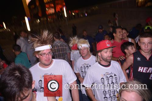 Miami Heat fans celebrate the NBA title win