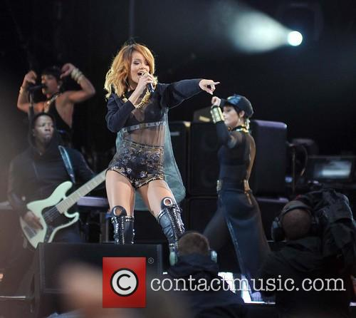 Rihanna performing in concert