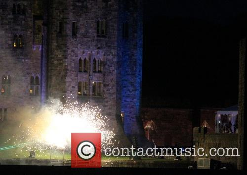 Fireworks explode over Alnwick Castle to celebrate the...