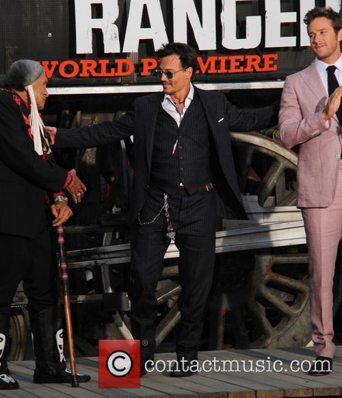 Saginaw Grant, Johnny Depp and Armie Hammer  Lone Ranger