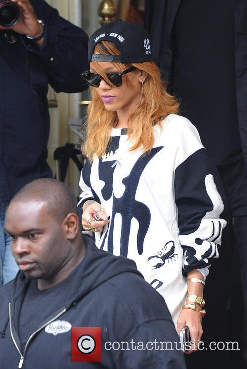 Rihanna leaving her hotel