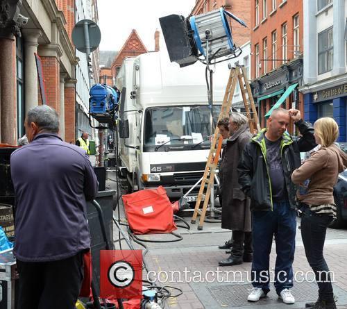 Celebrities on the set of 'Moonfleet'
