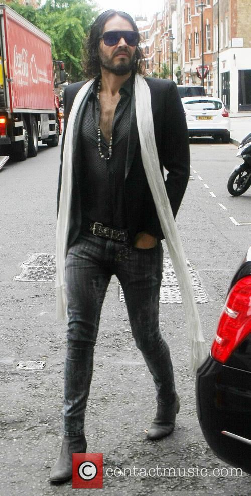 Russell Brand arriving at the BBC Radio 1...