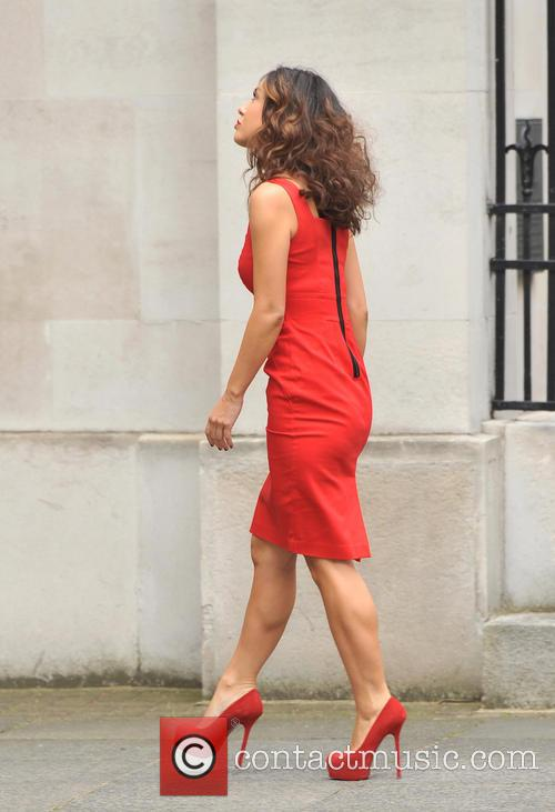 Myleene Klass arrives ahead of a photocall