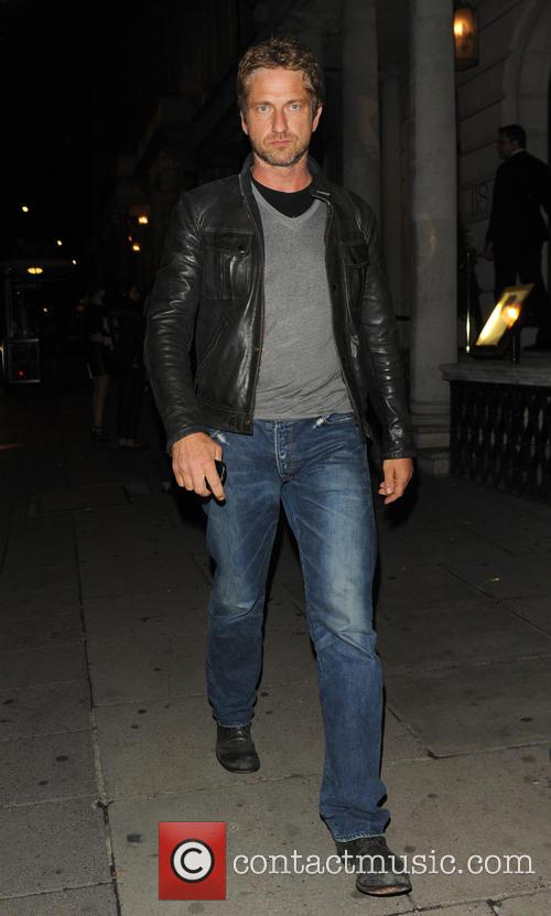 Gerard Butler leaves Coya restaurant
