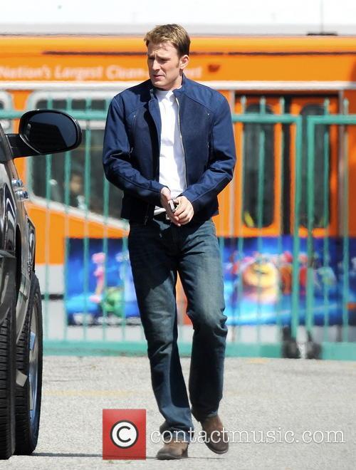Actor Chris Evans arrving on the set of...