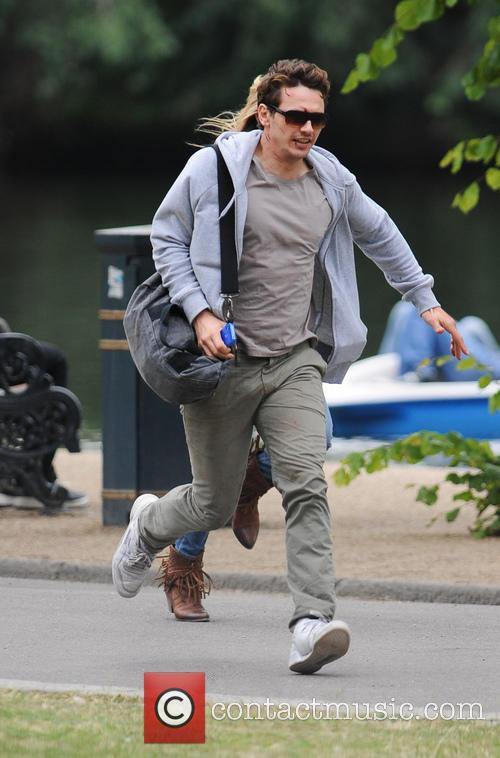 Kate Hudson And James Franco on set in London