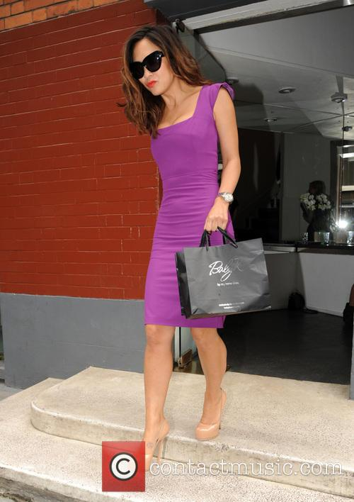 Myleene Klass leaving a studio