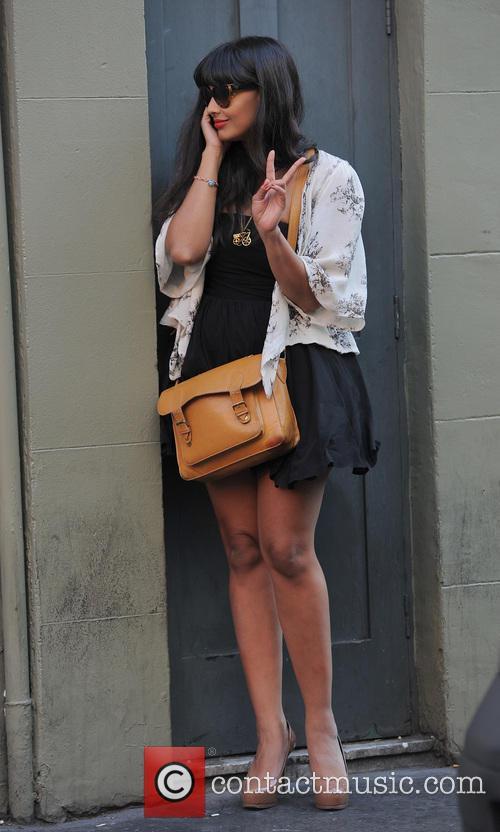 Jameela Jamil talking on her phone in Soho