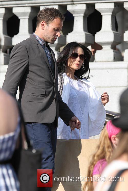 Lucy Liu and Jonny Lee Miller seen filming...