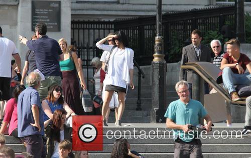 Lucy Liu and Jonny Lee Miller seen filming...