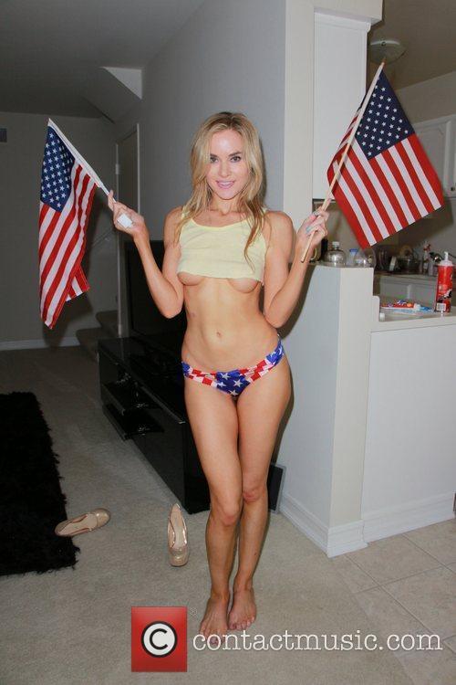 Paula Labaredas wears a patriotic bikini