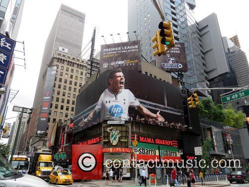 A giant billboard featuring Tottenham Hotspur's Gareth Bale...