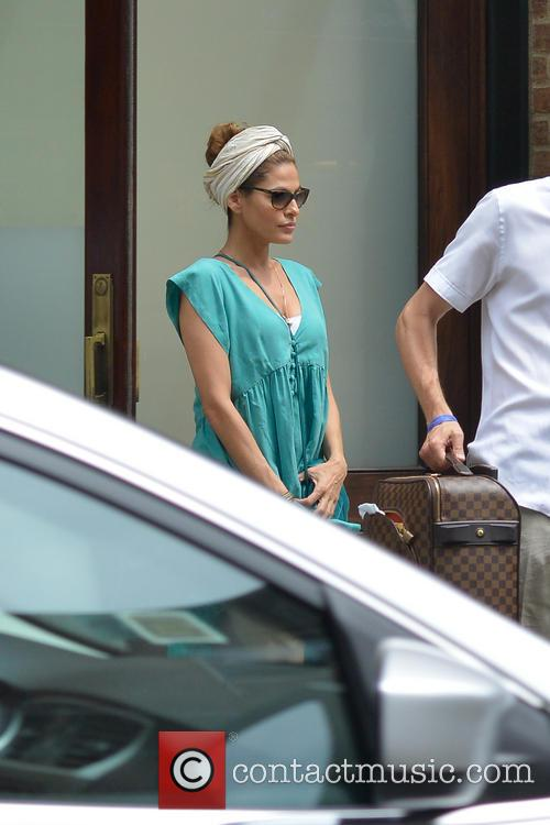 Eva Mendes leaving her Manhattan hotel