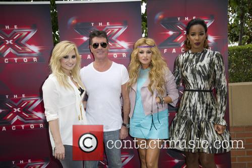 Demi Lovato, Simon Cowell, Paulina Rubio and Kelly Rowland in LA