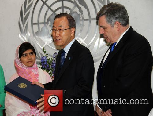 Malala Yousafzai, Ban Ki moon and Gordon Brown 1