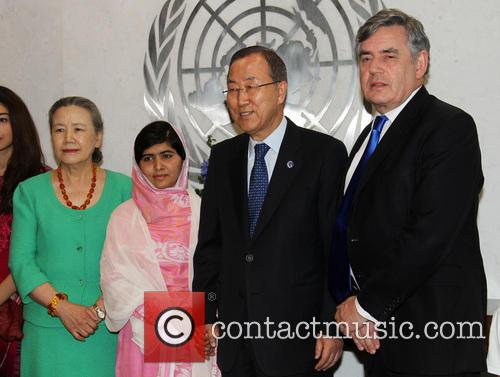 Mrs Ban Ki Moon, Malala Yousafzai, Ban Ki Moon and Gordon Brown 6
