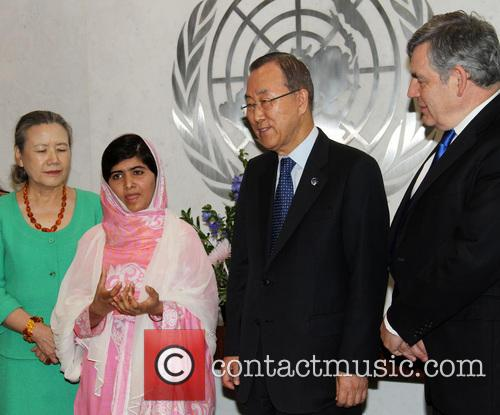Mrs Ban Ki Moon, Malala Yousafzai, Ban Ki Moon and Gordon Brown 1