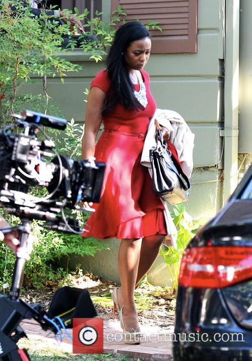 Tatyana Ali on the set of her new...
