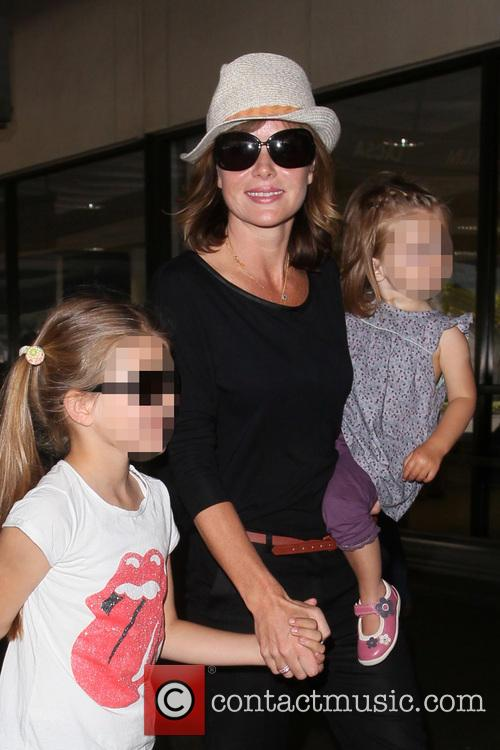 Amanda Holden and family arrive at LAX