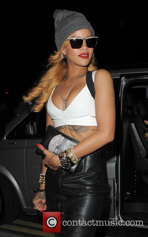 Rihanna arriving back at her hotel, following an...