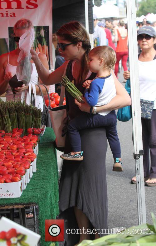 Selma Blair with her son Arthur Saint Bliec at the  Farmers Market