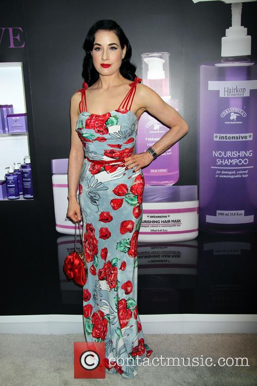 Dita Von Teese at the 'Obliphica' booth