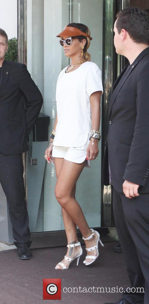 Rihanna leaving her London hotel