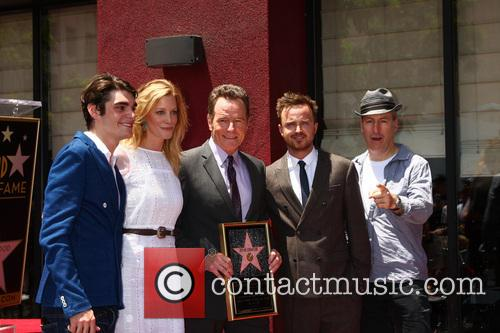 Rj Mitte, Anna Gunn, Bryan Cranston, Aaron Paul and Producer 7