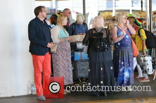 Jonathan Ross, Jane Goldman, Betty Kitten Ross, Harvey Kirby Ross, Honey Kinney Ross, LAX Airport
